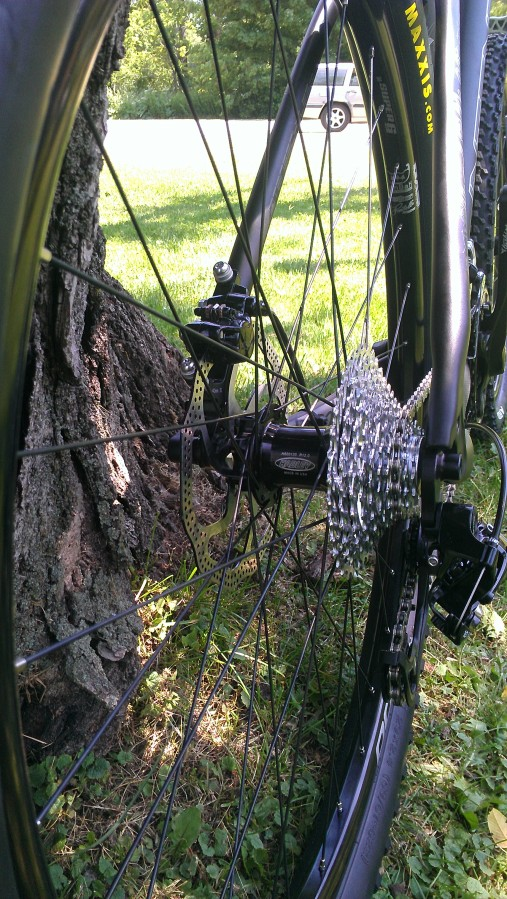 Custom, handbuilt wheelset by Dave Clifford, head bike mechanic here at Bike Stowe/Skiershop.  Hadley Hubs, DT Swiss Spokes, and Spank Rims wrapped with Maxxis Ardent Tires