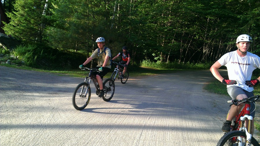 Erik, Dave, and Dana exiting the Cady Hill Forest trails