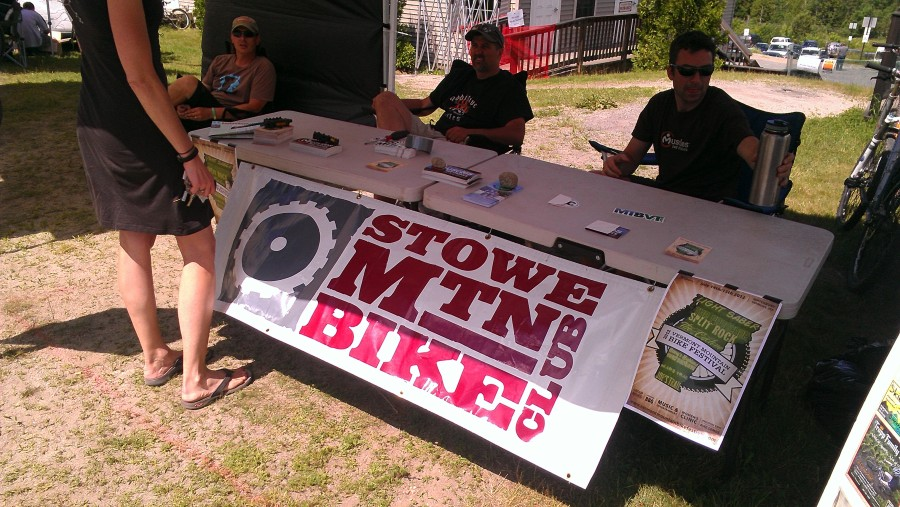 Look who we found!  Once we found the Stowe Mtn Bike tent, it immediately became our home base.