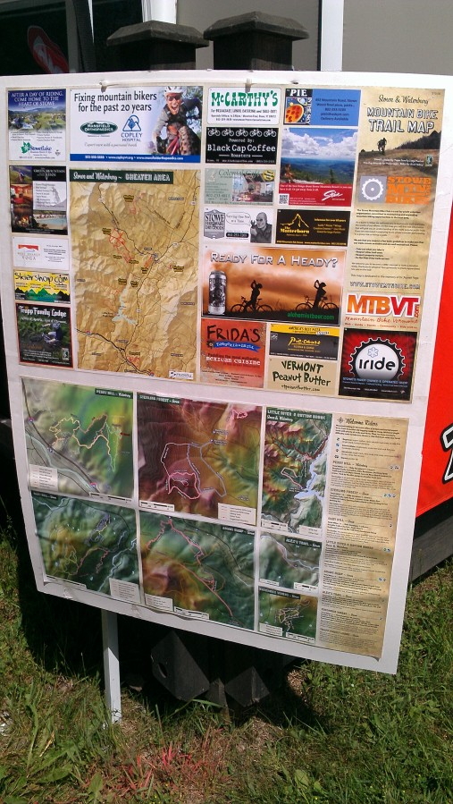 And look what they had to show us!  The brand new Stowe Mtn Bike trail map!  Look closely, you'll see our ad!