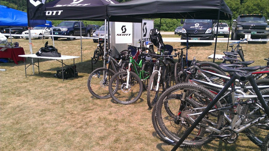 "We shared a tent with Scott Bikes.  We were right next to Giant, which gave that corner of the festival a distinct ""Skiershop"" feel"