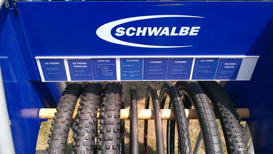 Giant has a nice display of Schwalbe rubber