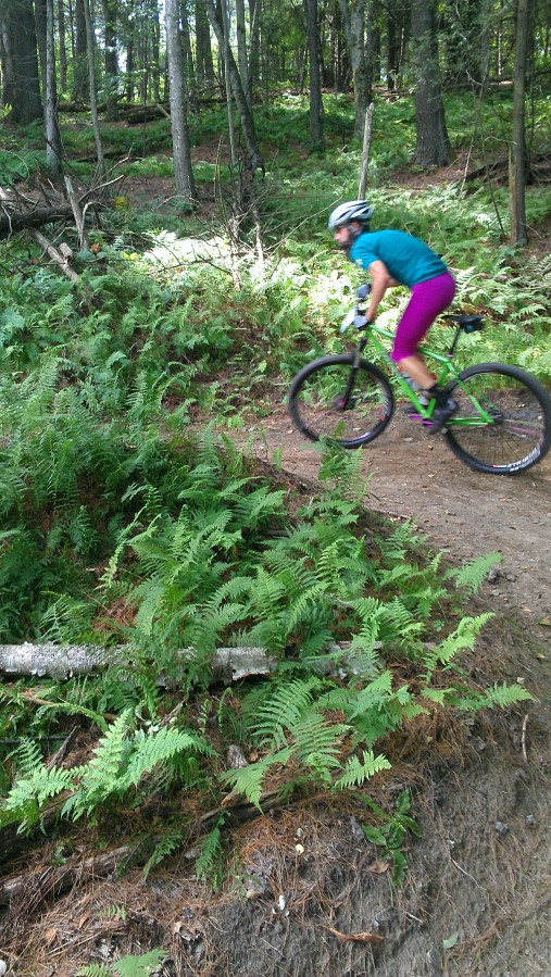 A colorful singlespeeder makes his way onto the new Cady Hill Forest climb