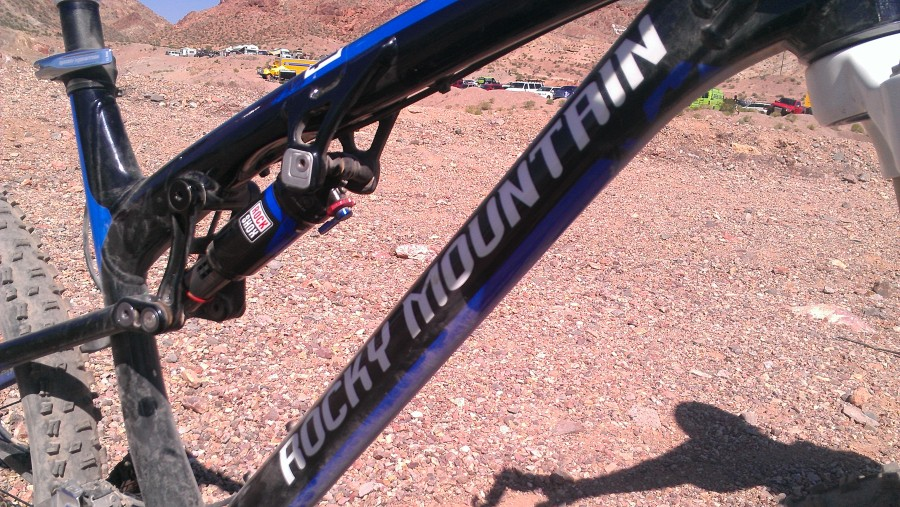Close up of the Rocky Mountain Altitude, a bike that will undoubtedly perform very well in the Stowe area.