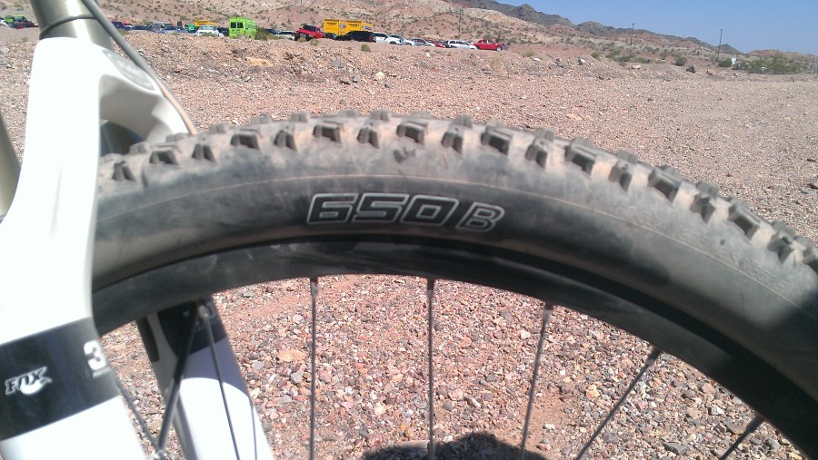 My first experience with a 650B wheel.  Initial reaction, great on the flats, good traction, little shaky on the descents.  In the bike's defense, the suspension wasn't perfectly tuned for me, quite a bit too stiff.