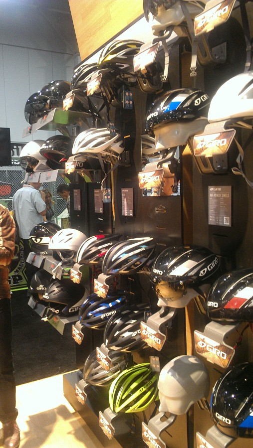 Giro's line of road helmets remained relatively unchanged with the exception of the addition of the Aeon, replacing the Atmos at the top of the line of helmets.