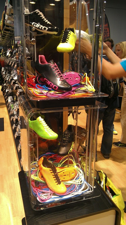 A colorful display of Giro's finest cycling shoes