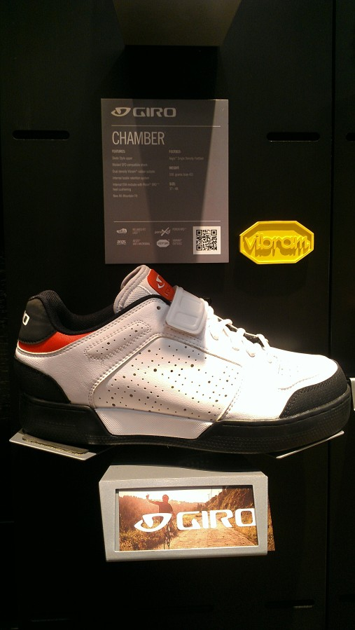 The Chamber, a new shoe from Giro, looked pretty snazzy in this white and red.