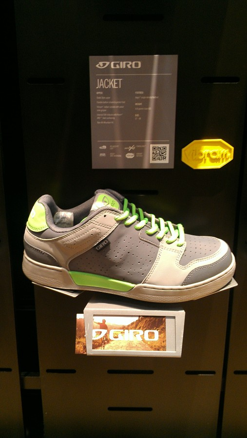 A new shoe for Giro.  Flat pedal riders rejoice!  Skate style shoe with a sticky Vibram sole!